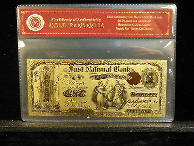 1872 First National Bank Lebanon Indiana One Dollar 24Kt Gold Foil Banknote