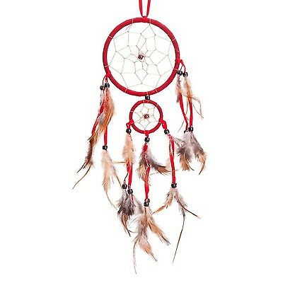 """18"""" Traditional Red Dream Catcher with Feathers Wall or Car Hanging Ornament ..."""