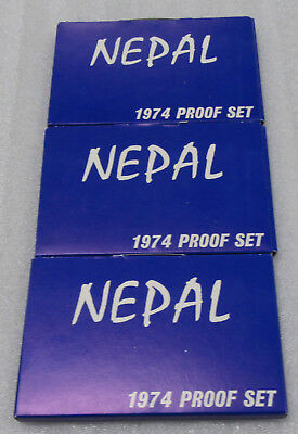 1974 Nepal 7 Coin Proof Sets * Lot of 3- Complete Sets