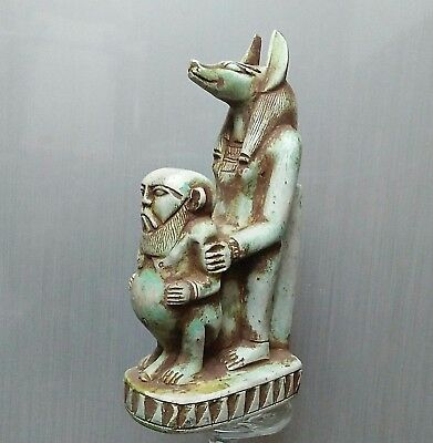 Rare Ancient Egyptian stone statue  ANUBIS and BES (300-1000 BC)
