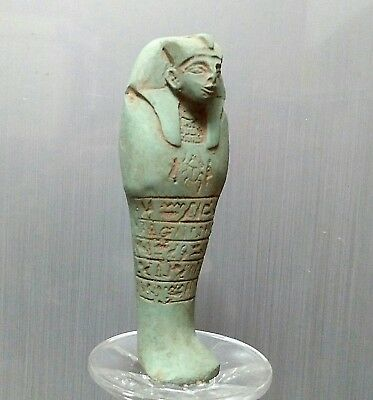 ANCIENT ANTIQUE Egyptian green Faience Ushabti  statue (300-1500 BC)