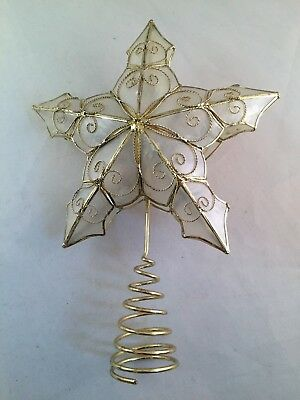 Capiz shell and gold tone Star Christmas tree topper