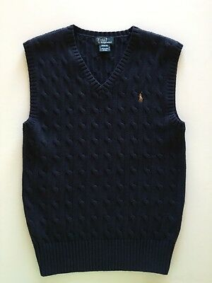 Polo Ralph Lauren Boys Cable Knit Sweater Vest Navy Blue Size M 10-12