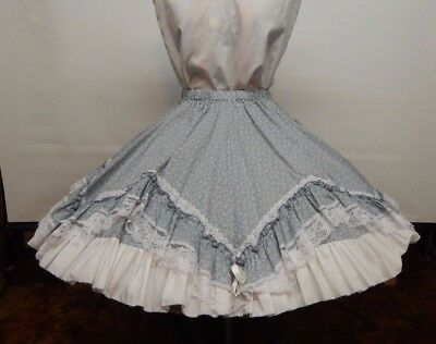 Blue And White Floral Square Dance Skirt