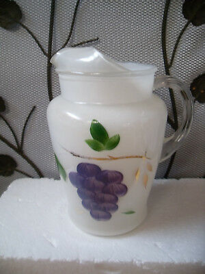 Vintage Bartlett Collins Ice Lip Pitcher w/ Hand Painted Grape Cluster