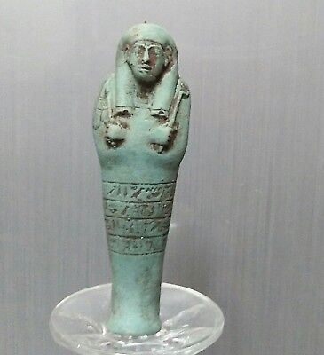 ANCIENT ANTIQUE Egyptian blue faience USHABTI  statue (300-1500 BC)
