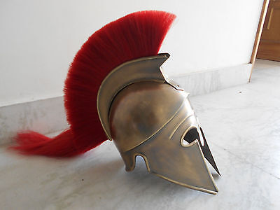 Medieval Greek Corinthian Helmet+Red Plume Crusader Knight Spartan brass ANTIQUE