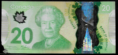 World Paper Money - Canada $20 Dollars 2012 Polymer @ Fair Cond.