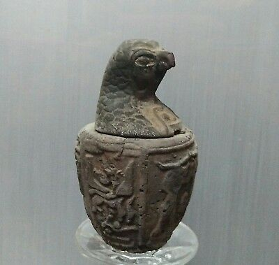 ANCIENT ANTIQUE Egyptian stone son of Horus Canopic Jar Qebehsenuef   (1500–300