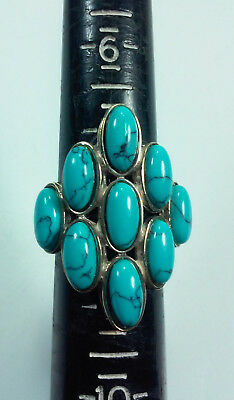 Signed Seta Sterling Silver And 9 Turquoise Stones Statement Ring Sz 8.25