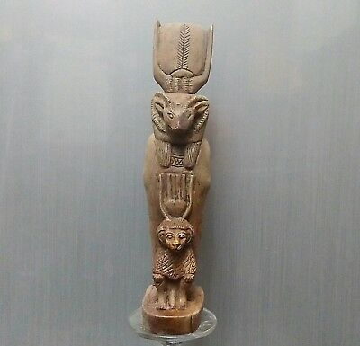 ANCIENT ANTIQUE Egyptian stone God Khnum  embraces  BABOON  (1500–300 BC)