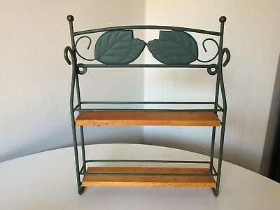 Vintage Kamenstein Wrought Iron Spice Rack Green Leaves 2 Tier Made in Thailand