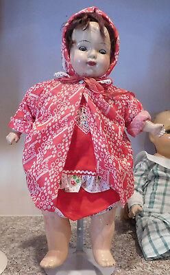 """Vintage 1920's N.D. Co. 1927 National Doll 18"""" Composition & Cloth Mama Baby"""