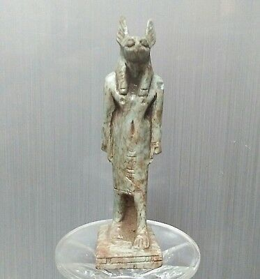 ANCIENT ANTIQUE Egyptian stone ANUBIS statue  (1500–300 BC)