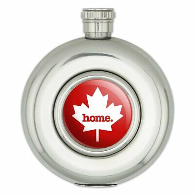 Canada Maple Leaf Home Country Red Round Stainless Steel 5oz Hip Flask