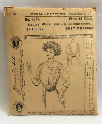 RARE! Edwardian 1908 McCALL SEWING PATTERN #2754 Ladies Waist 34 Bust BLOUSE2282