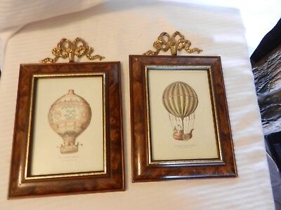 Pair of Vintage Victorian Era Hot Air Balloons Framed Prints With Wall Hooks