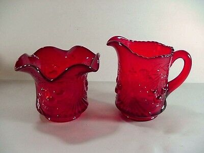 L. G. Wright Wreathed Cherry / Leaves Ruby Red Creamer and Sugar -- 1960's
