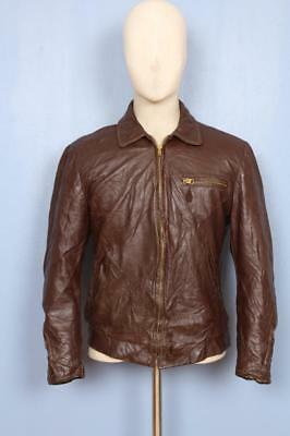 Stunnning Vtg 30s Californian HORSEHIDE Leather Motorcycle Sports Jacket Small