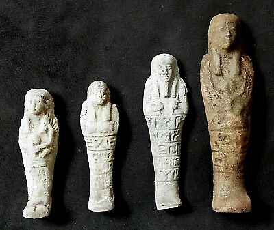 Rare Ancient Egyptian FOUR FAIENES USHABTI (1000-300 BC)