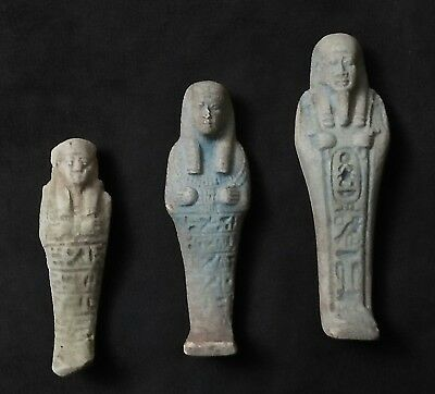ANCIENT ANTIQUE Egyptian three FAIENES USHABTI (1500–300 BC)