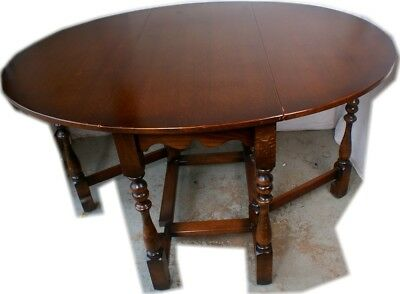 Nice Solid Antique English British Oak Drop Leaf Table Turned Legs Kitchen