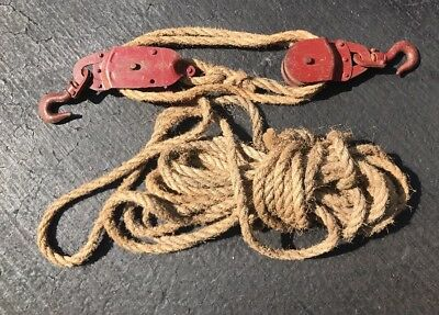 Vintage DURBAN DURCO Red Farm Steel Pulley With Rope, Barn Loft Decor,