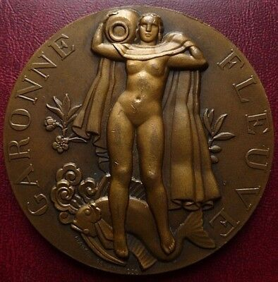 Art Deco dated 1936 large French gilded Bronze Medal by Marcel RENARD