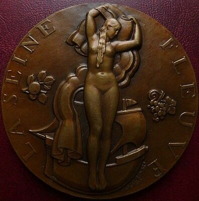 Art Deco dated 1936 large French Medal by Marcel RENARD