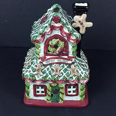2010 Blue Sky Holiday Gingerbread House Heather Goldminc Candle Holder Christmas