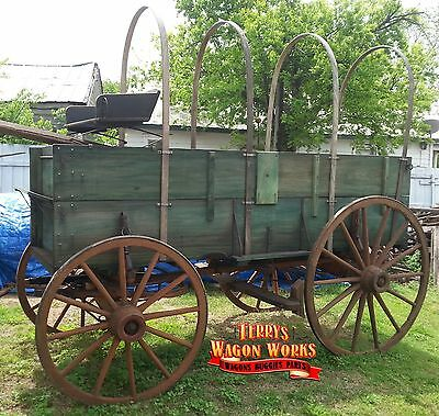 horse drawn wagon antique farm wood wheel vehicle terrys wagon works chuck wagon