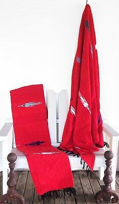 Mexican Blanket Thunderbird Handwoven /Yoga Blanket-Red