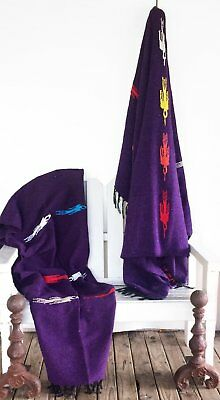 Mexican Blanket Thunderbird Handwoven /Yoga Blanket-Purple