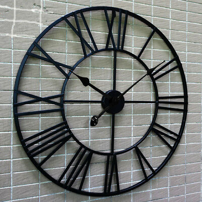 Large Medium Garden Outdoor Metal Roman Numeral Clock Round Vintage Skeleton New