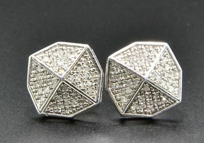 1e7d0faf3 Diamond Studs Octagon Shaped Mens Ladies 10K White Gold Pave Earrings 0.18  Ct.