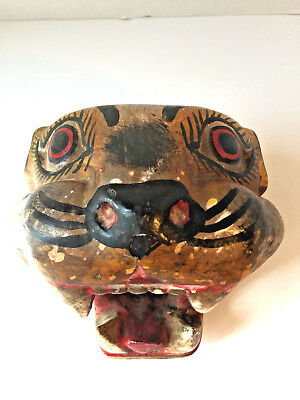 "Vintage Mexican 6 1/2"" Tall Heavy Painted Plaster Folk Art Dance Mask Jaguar"