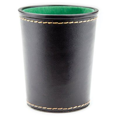 Felt Lined Dice Cup Synthetic Leather Exterior Casino Green Interior 4 x 3 Inch