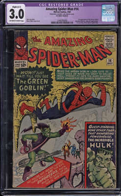 Amazing Spider-Man #14 CGC Restored 3.0 Slight C-1 OW/W Pages 1st Green Goblin