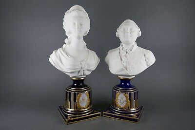 Antique Lot (2) Late 1800's French Bust Napoleon Josephine Sevres Sculpture