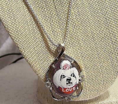 Maltese hand painted silver tone genuine amathyst crystal pendant necklace