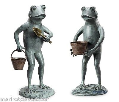 Gardening Frog Pair Green Thumbs Shovel & Pot Metal Garden Statues Sculptures