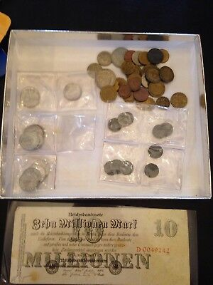 ww2 german coin lot And Non WW2 assorted 10 Million Mark Bill