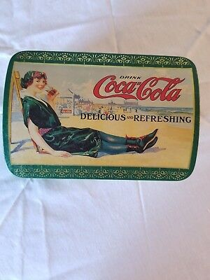 Vintage Pre-Owned 1993 Coca Cola Tin Box w/ Domed Top Reproduction