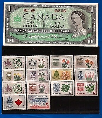 1967 stamps CANADA set + Canadian CENTENNIAL one 1 DOLLAR BILL NOTE crisp AU-UNC