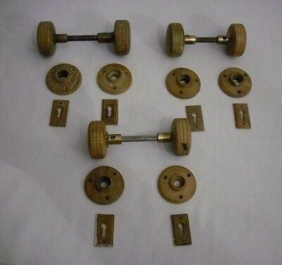 ANTIQUE VICTORIAN COMPLETE SET of 3 WOOD DOOR KNOBS with ROSETTES & KEYHOLES