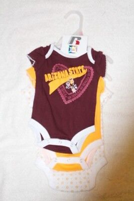 Russell Arizona State Univ Baby Infant 3Pc Set Rompers Creepers Body Suits New