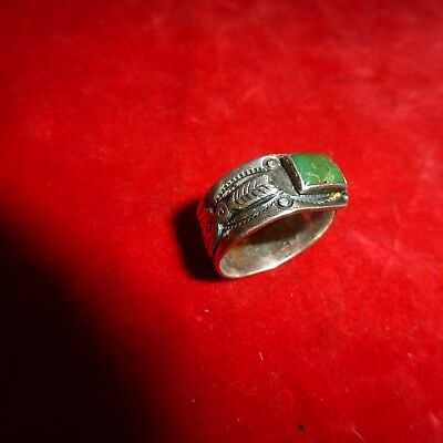 Exc Ca 1900 Native American Navajo Indian Silver Snake / Thunderbird Stone Ring