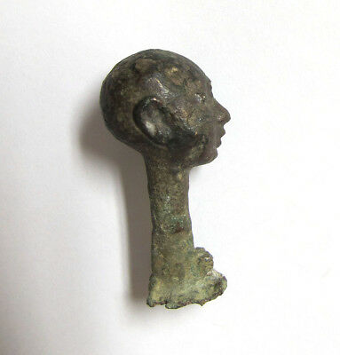 Ancient Artifact STUMPED Miniature Bald Headed Long Neck Man Egyptian Priest yqz