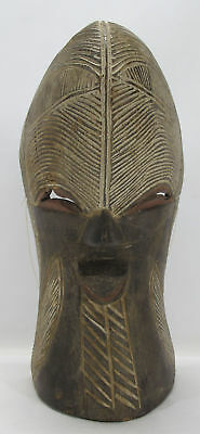 Vintage African Songye Tribal Art Carved Wood Ceremonial Mask Kifwebe Congo yqz