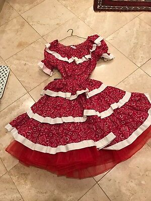 Red and white cowboy Square Dance Outfit - Skirt & Top & frilly sli- Size Medium